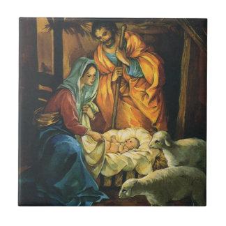 Vintage Christmas Nativity, Baby Jesus in Manger Tile