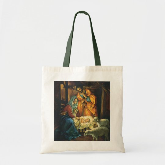 Vintage Christmas Nativity, Baby Jesus in Manger Tote Bag
