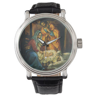 Vintage Christmas Nativity, Baby Jesus in Manger Wrist Watch