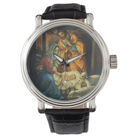 Vintage Christmas Nativity, Baby Jesus in Manger Wrist Watch