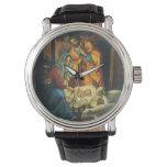 Vintage Christmas Nativity, Baby Jesus in Manger Wristwatch
