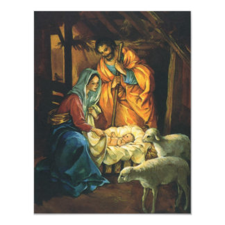 Vintage Christmas Nativity, Baby Jesus Invitation