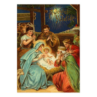 Vintage Christmas Nativity Gift Tags Large Business Cards (Pack Of 100)