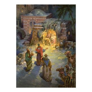 Vintage Christmas Nativity Personalized Invite