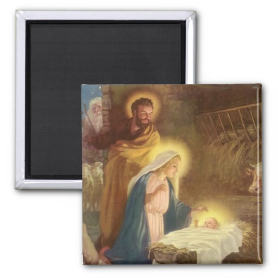 Vintage Christmas Nativity, Mary Joseph Baby Jesus 2 Inch Square Magnet