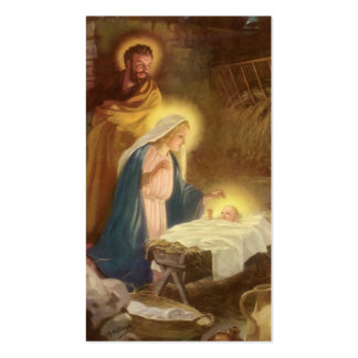 Vintage Christmas Nativity, Mary Joseph Baby Jesus Double-Sided Standard Business Cards (Pack Of 100)