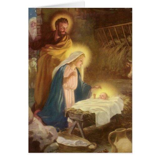 Vintage Christmas Nativity, Mary Joseph Baby Jesus Card