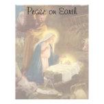 Vintage Christmas Nativity, Mary Joseph Baby Jesus Letterhead