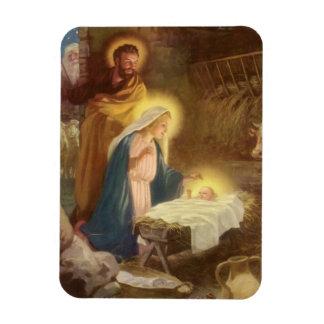 Vintage Christmas Nativity, Mary Joseph Baby Jesus Magnet