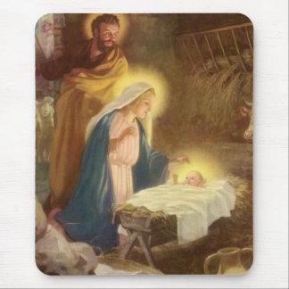 Vintage Christmas Nativity, Mary Joseph Baby Jesus Mousepads