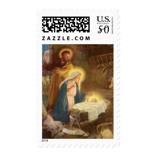 Vintage Christmas Nativity, Mary Joseph Baby Jesus Postage