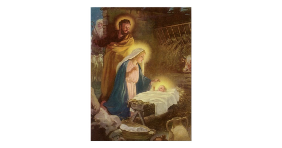 vintage christmas nativity  mary joseph baby jesus poster
