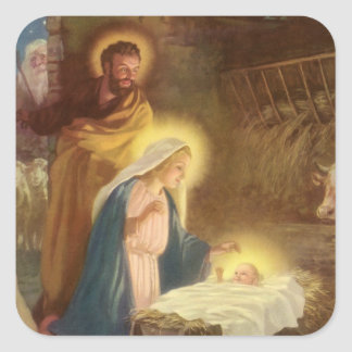 Vintage Christmas Nativity, Mary Joseph Baby Jesus Square Sticker