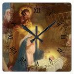Vintage Christmas Nativity, Mary Joseph Baby Jesus Square Wall Clock