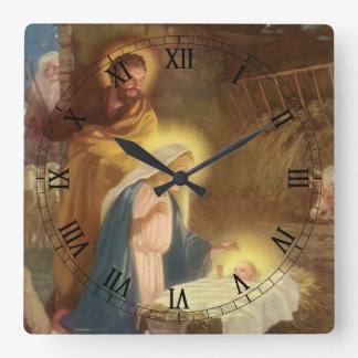 Vintage Christmas Nativity, Mary Joseph Baby Jesus Square Wall Clock