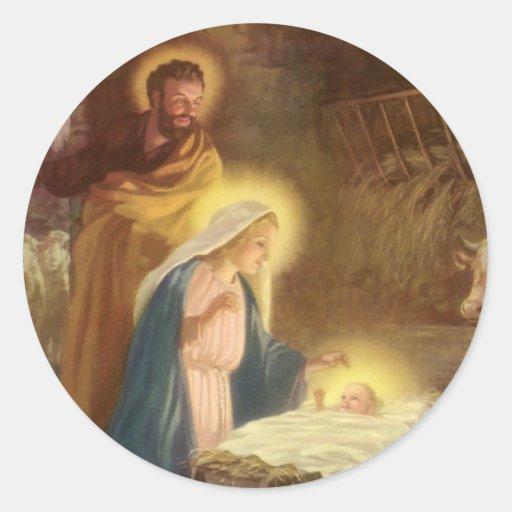 Vintage Christmas Nativity, Mary Joseph Baby Jesus Round Sticker