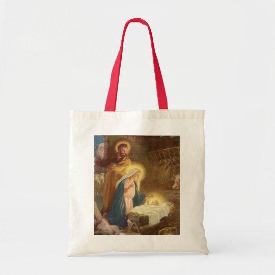 Vintage Christmas Nativity, Mary Joseph Baby Jesus Tote Bag