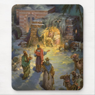Vintage Christmas Nativity Mouse Pad