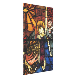 Vintage Christmas Nativity Scene in Stained Glass Canvas Print