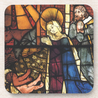 Vintage Christmas Nativity Scene in Stained Glass Drink Coaster