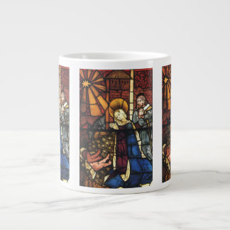Vintage Christmas Nativity Scene in Stained Glass Giant Coffee Mug