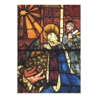 Vintage Christmas Nativity Scene in Stained Glass 5x7 Paper Invitation Card