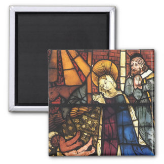 Vintage Christmas Nativity Scene in Stained Glass Magnet