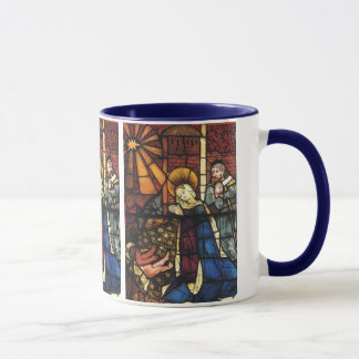Vintage Christmas Nativity Scene in Stained Glass Mug