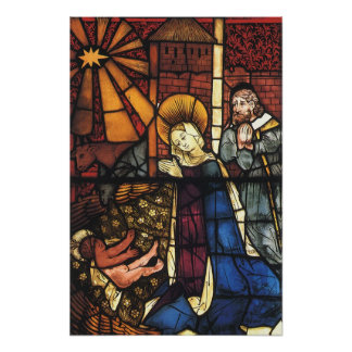 Vintage Christmas Nativity Scene in Stained Glass Poster