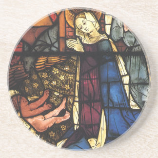 Vintage Christmas Nativity Scene in Stained Glass Sandstone Coaster