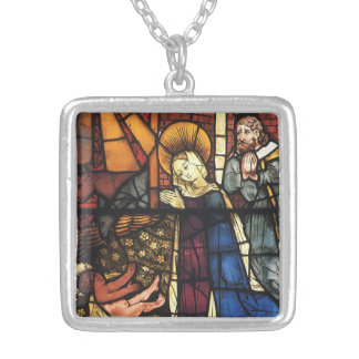 Vintage Christmas Nativity Scene in Stained Glass Square Pendant Necklace