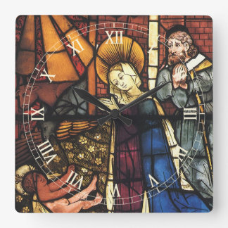 Vintage Christmas Nativity Scene in Stained Glass Square Wall Clock