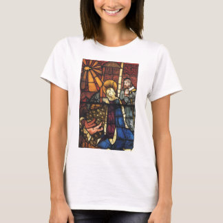 Vintage Christmas Nativity Scene in Stained Glass T-Shirt