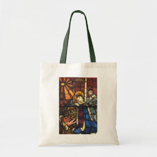 Vintage Christmas Nativity Scene in Stained Glass Tote Bag
