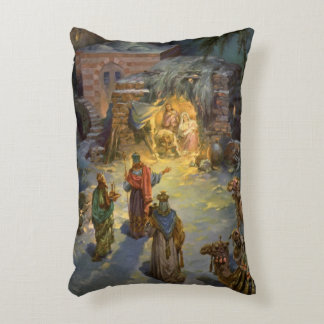 Vintage Christmas Nativity with Visiting Magi Accent Pillow