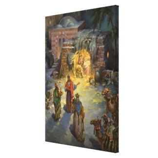 Vintage Christmas Nativity with Visiting Magi Canvas Print