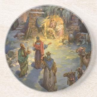 Vintage Christmas Nativity with Visiting Magi Drink Coaster
