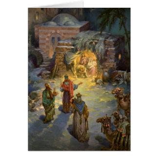 Vintage Christmas Nativity with Visiting Magi Greeting Card