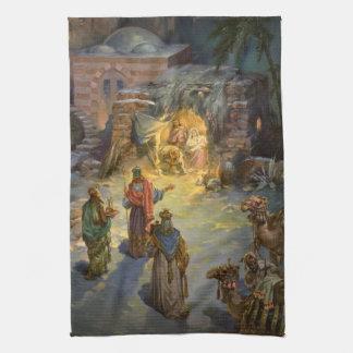 Vintage Christmas Nativity with Visiting Magi Hand Towel