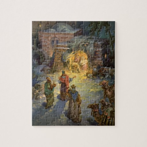 Vintage Christmas Nativity with Visiting Magi Jigsaw Puzzles