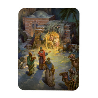 Vintage Christmas Nativity with Visiting Magi Magnet