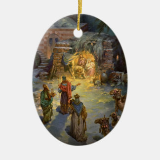 Vintage Christmas Nativity with Visiting Magi Double-Sided Oval Ceramic Christmas Ornament