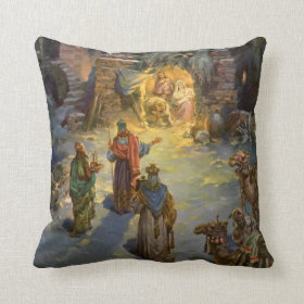 Vintage Christmas Nativity with Visiting Magi Pillows