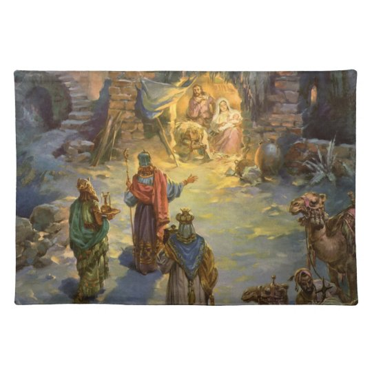 Vintage Christmas Nativity with Visiting Magi Placemat