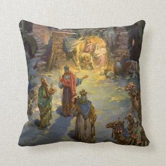 Vintage Christmas Nativity with Visiting Magi Throw Pillow