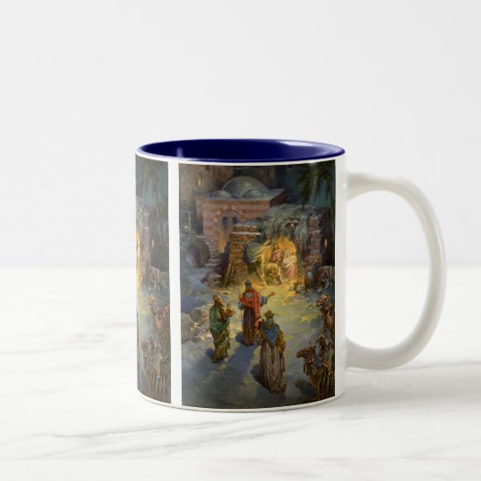 Vintage Christmas Nativity with Visiting Magi Two-Tone Coffee Mug