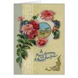 Vintage Christmas/New Year Floral Bethlehem Scene Greeting Cards
