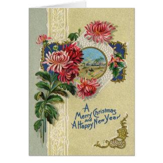 Vintage Christmas/New Year Floral Bethlehem Scene Card