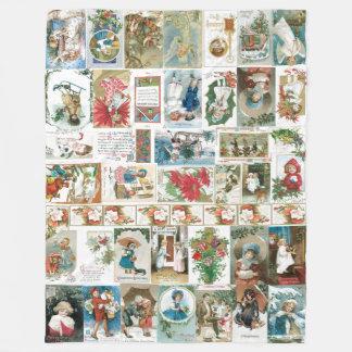 Vintage Christmas Nostalgia Quilt Fleece Blanket