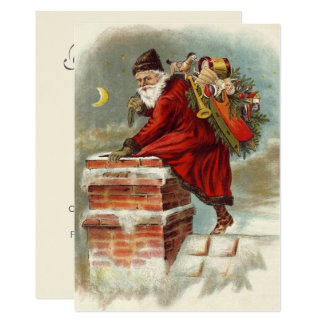 Vintage Christmas Open House Party Santa Claus Card